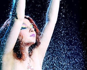 Girl with glitter rain