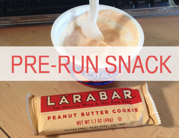 Pre-run snack: greek yogurt and a larabar