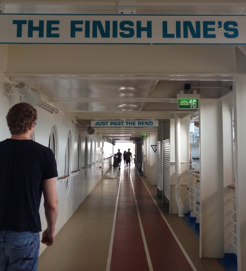 Allure of the Seas finish line sign