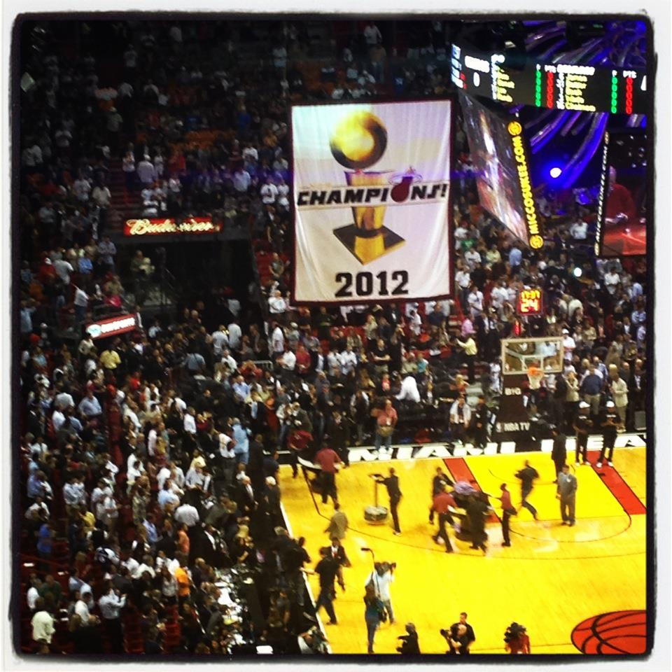 From the opening game of the 2013 season -- we went to watch the team get their rings and hang the championship banner.