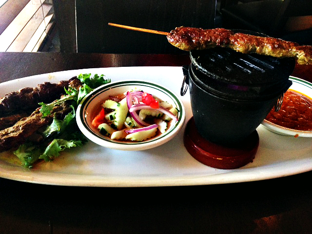This week's treat: satay beef & cucumber salad.